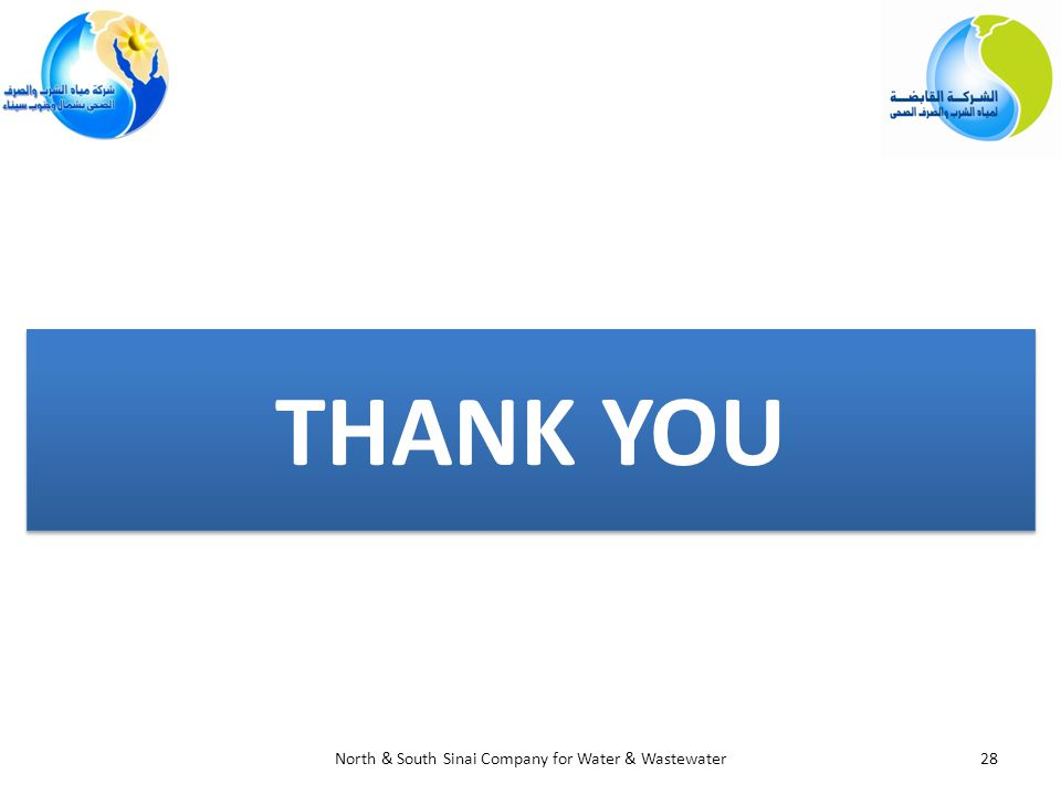 THANK YOU THANK YOU 28North & South Sinai Company for Water & Wastewater
