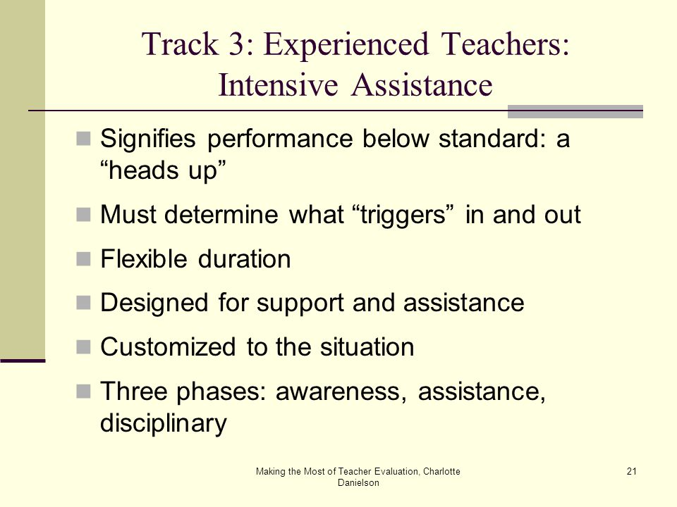 Making the Most of Teacher Evaluation, Charlotte Danielson 21 Track 3: Experienced Teachers: Intensive Assistance Signifies performance below standard: a heads up Must determine what triggers in and out Flexible duration Designed for support and assistance Customized to the situation Three phases: awareness, assistance, disciplinary