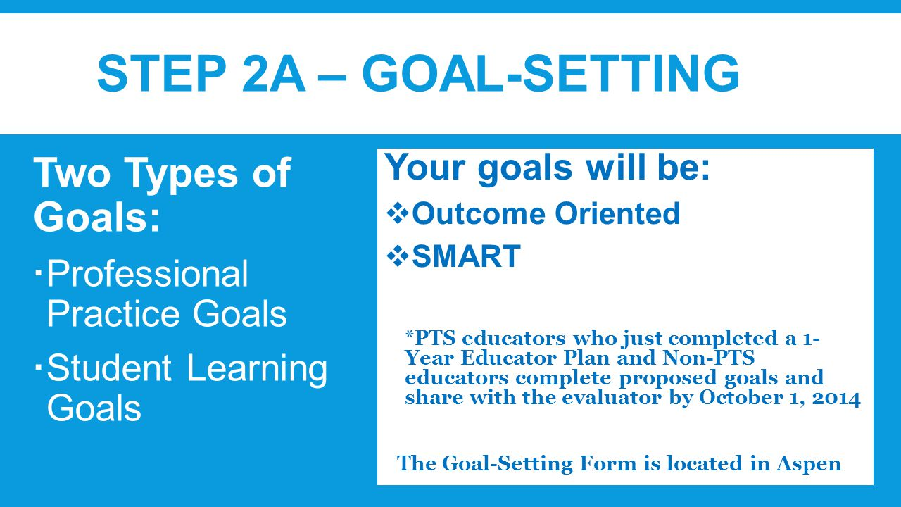 STEP 2A – GOAL-SETTING Two Types of Goals:  Professional Practice Goals  Student Learning Goals Your goals will be:  Outcome Oriented  SMART *PTS educators who just completed a 1- Year Educator Plan and Non-PTS educators complete proposed goals and share with the evaluator by October 1, 2014  The Goal-Setting Form is located in Aspen