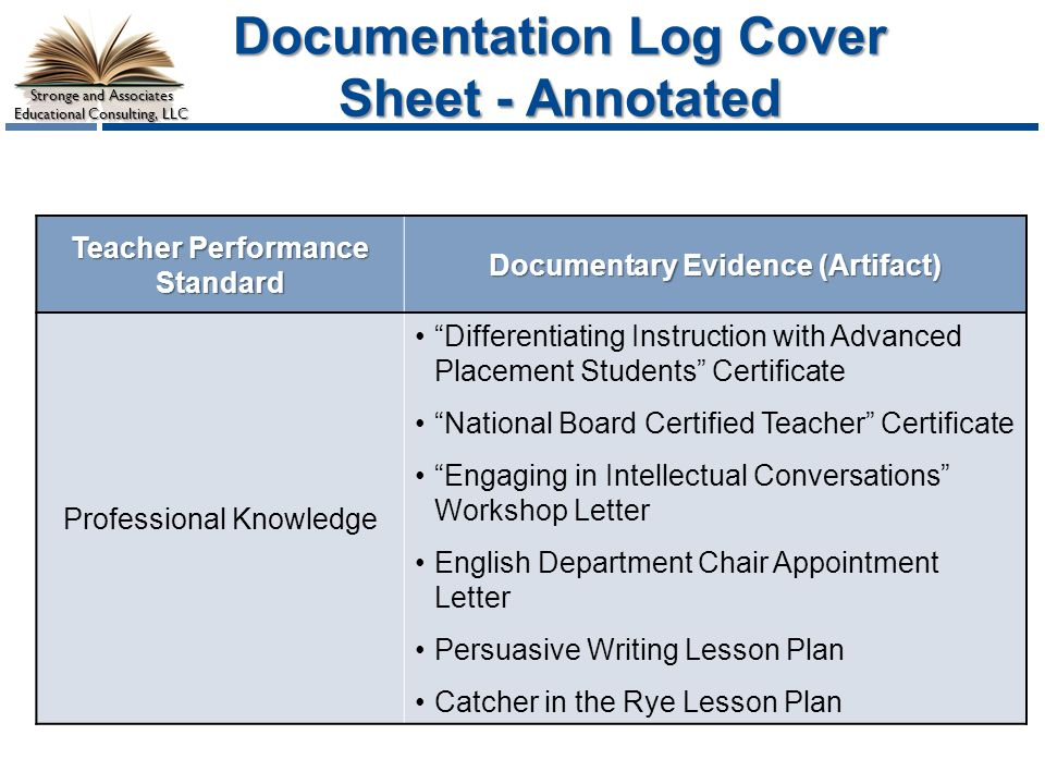 Stronge and Associates Educational Consulting, LLC Documentation Log Cover Sheet - Annotated Teacher Performance Standard Documentary Evidence (Artifact) Professional Knowledge Differentiating Instruction with Advanced Placement Students Certificate National Board Certified Teacher Certificate Engaging in Intellectual Conversations Workshop Letter English Department Chair Appointment Letter Persuasive Writing Lesson Plan Catcher in the Rye Lesson Plan