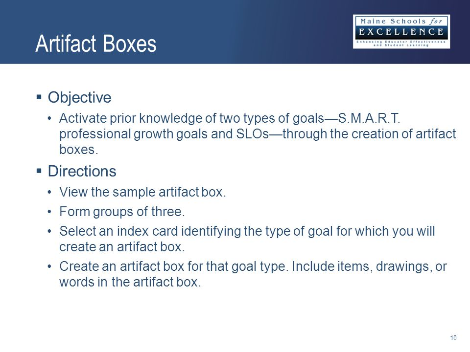 Artifact Boxes  Objective Activate prior knowledge of two types of goals—S.M.A.R.T.