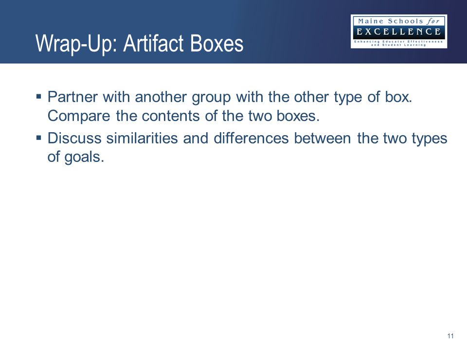 Wrap-Up: Artifact Boxes  Partner with another group with the other type of box.