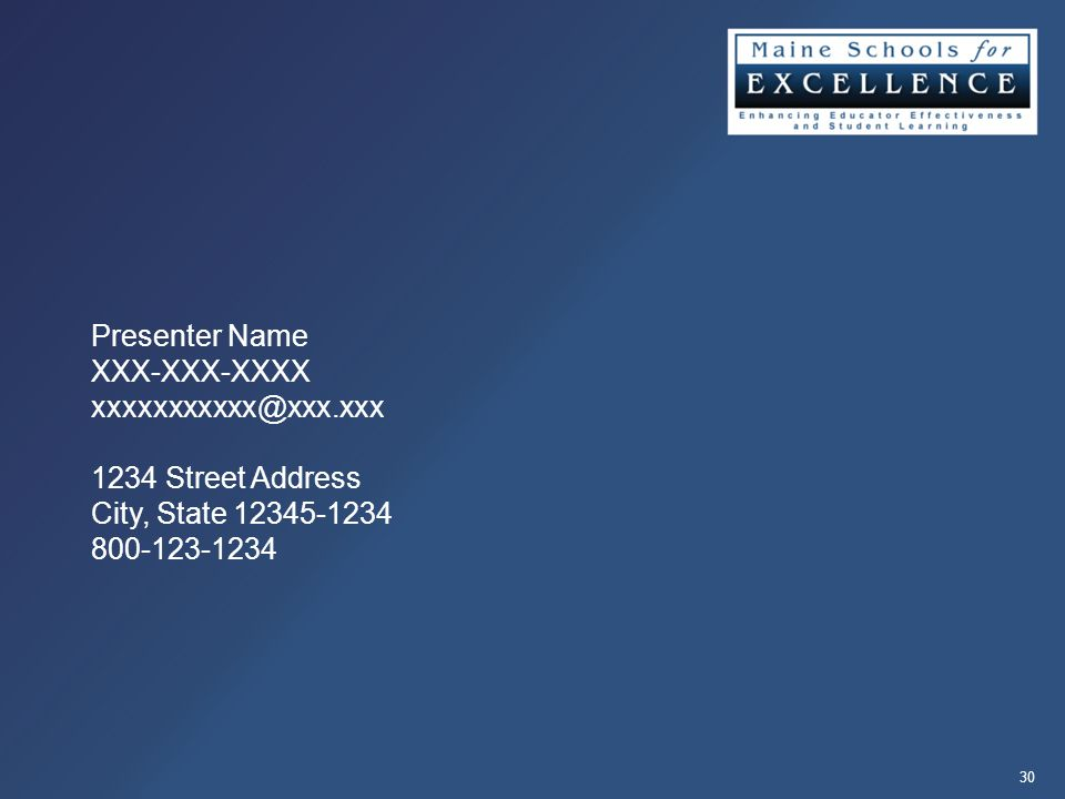 Presenter Name XXX-XXX-XXXX 1234 Street Address City, State
