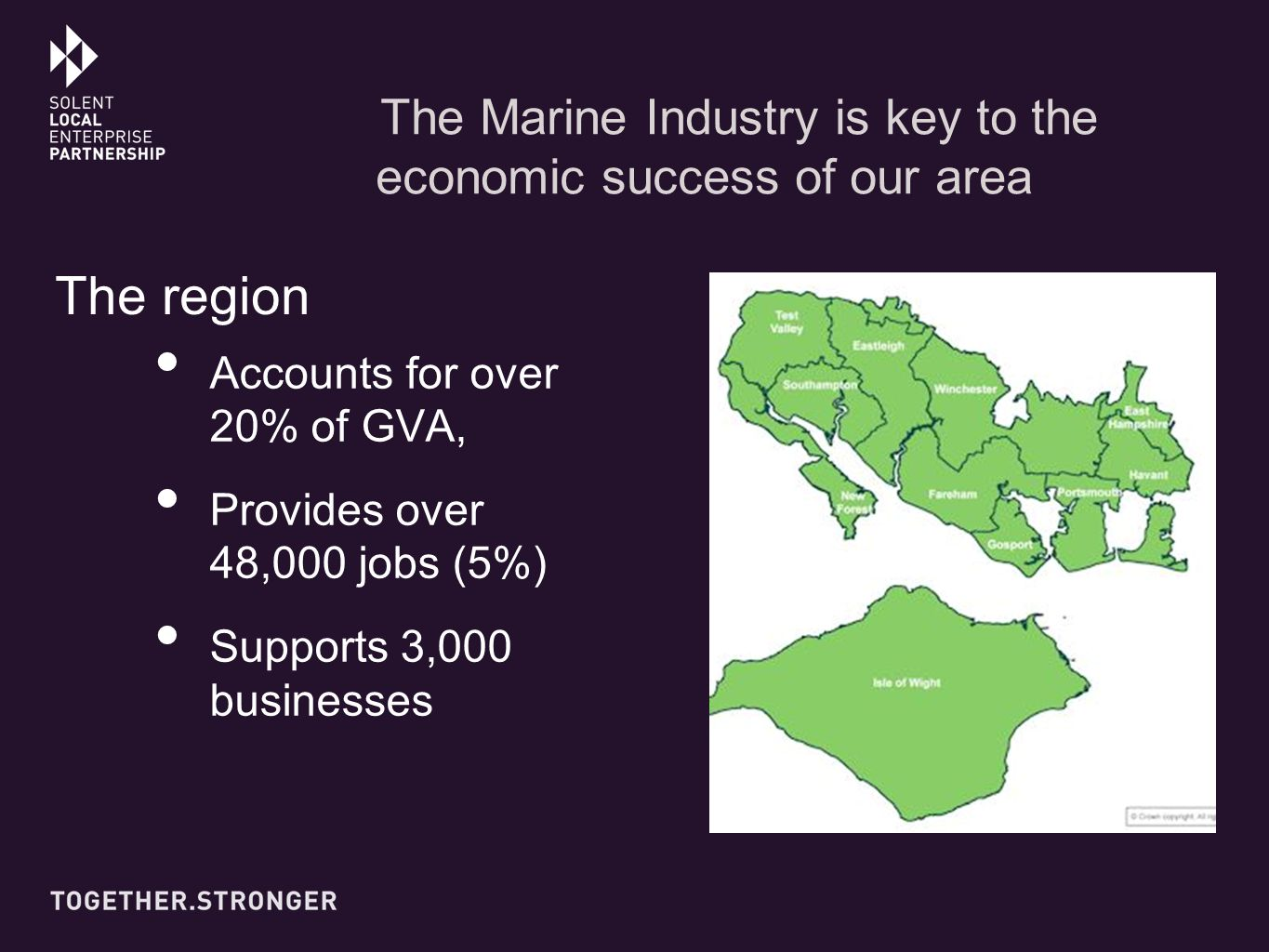 The Marine Industry is key to the economic success of our area Accounts for over 20% of GVA, Provides over 48,000 jobs (5%) Supports 3,000 businesses The region