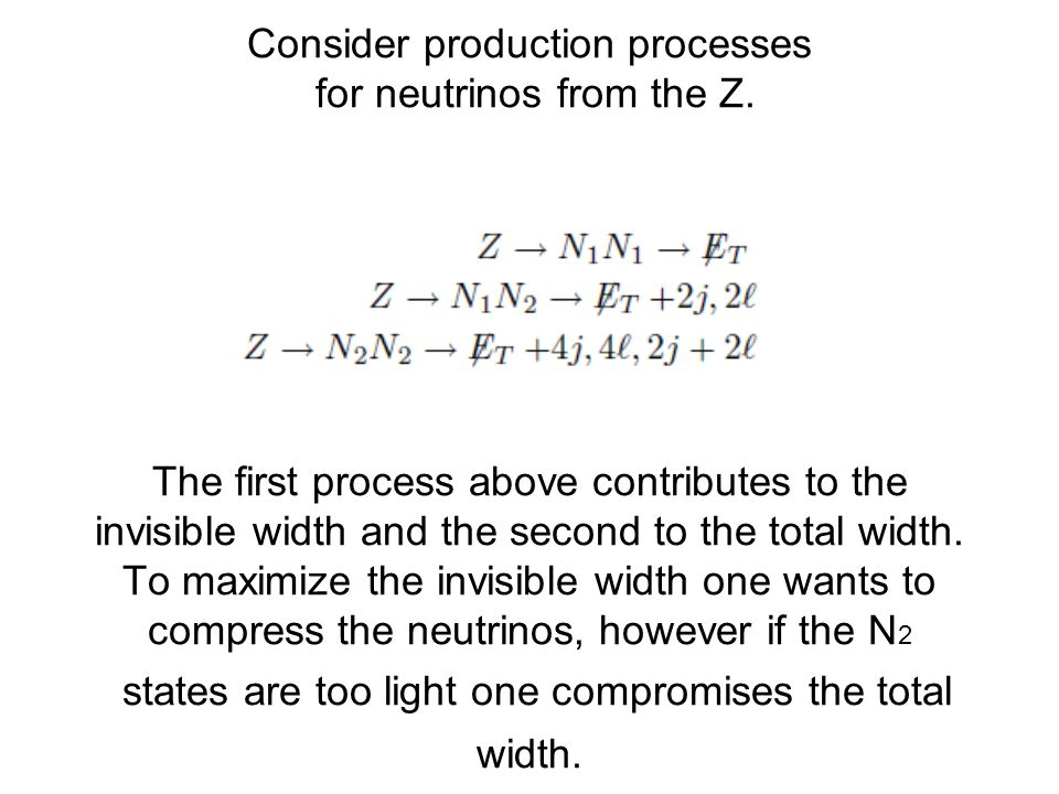 Consider production processes for neutrinos from the Z.