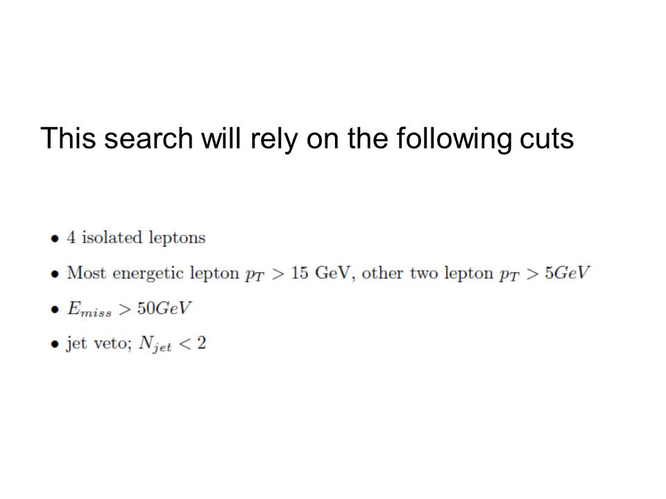 This search will rely on the following cuts