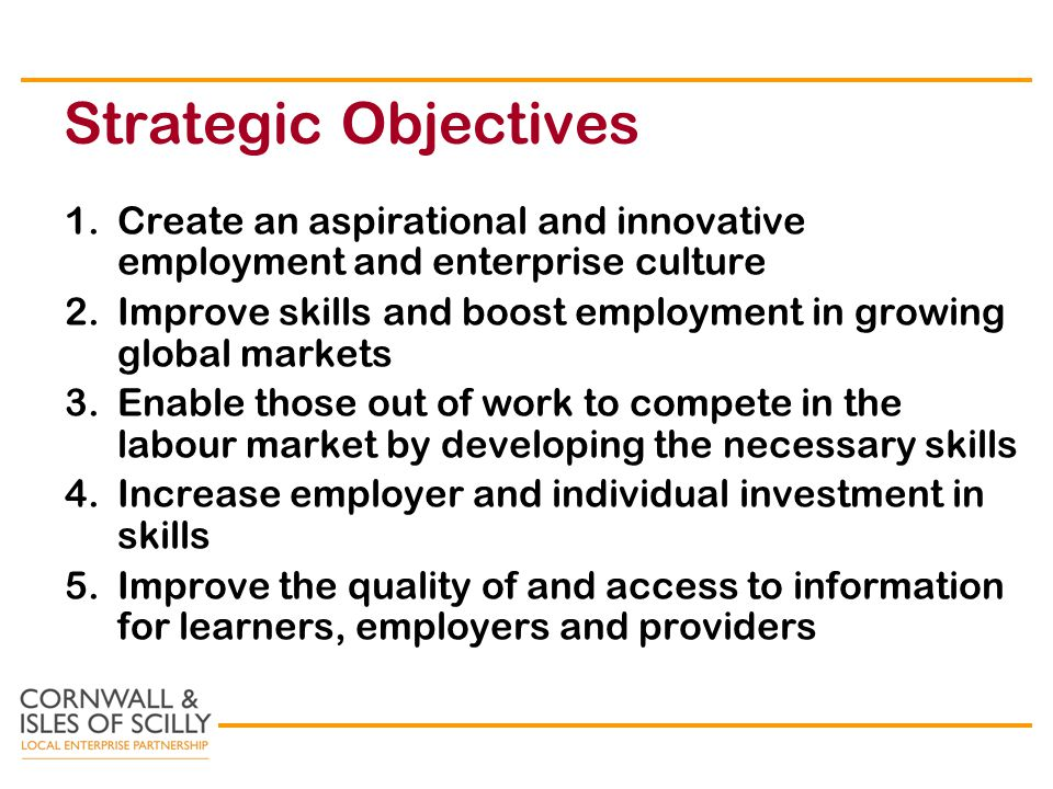 Strategic Objectives 1.Create an aspirational and innovative employment and enterprise culture 2.Improve skills and boost employment in growing global markets 3.Enable those out of work to compete in the labour market by developing the necessary skills 4.Increase employer and individual investment in skills 5.Improve the quality of and access to information for learners, employers and providers