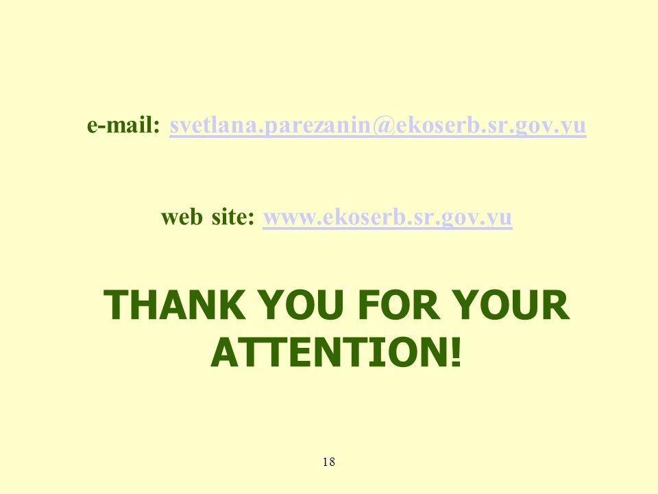 web site:   THANK YOU FOR YOUR 18
