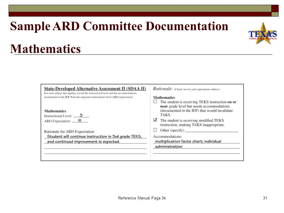 Reference Manual Page 3430 Sample ARD Committee Documentation Reading