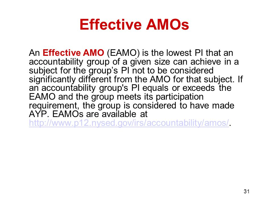 31 An Effective AMO (EAMO) is the lowest PI that an accountability group of a given size can achieve in a subject for the group's PI not to be considered significantly different from the AMO for that subject.