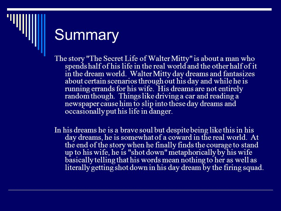 walter mitty book summary
