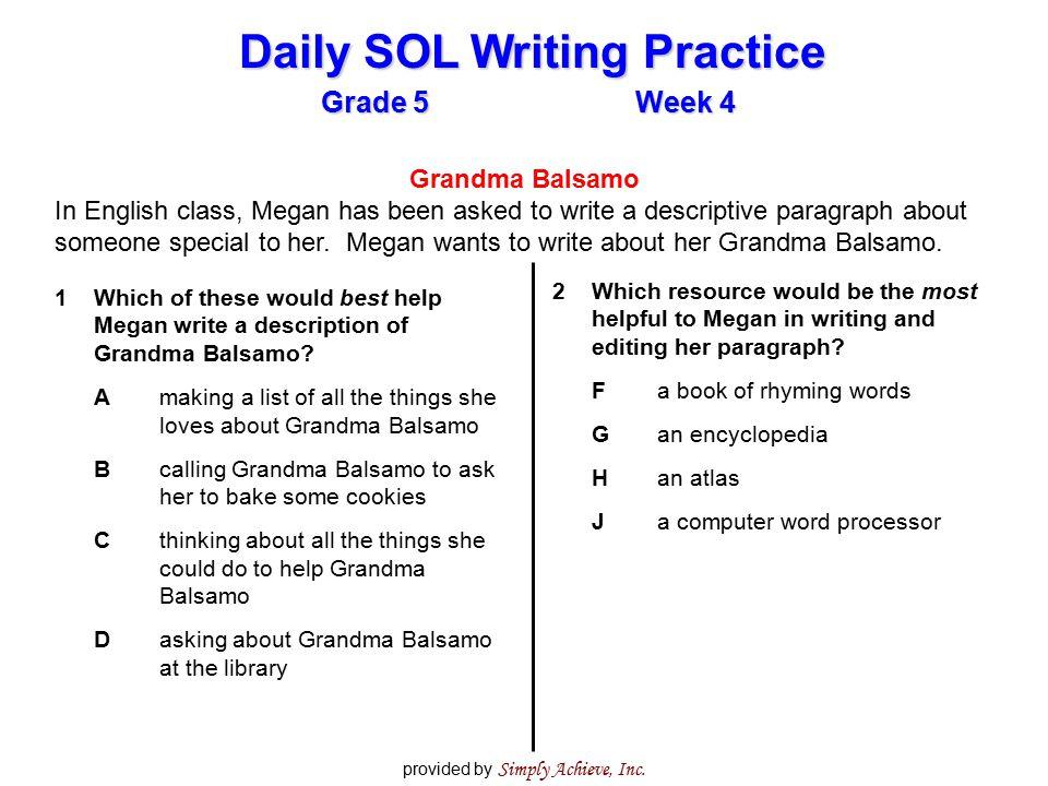 how to write a descriptive paragraph grade 5