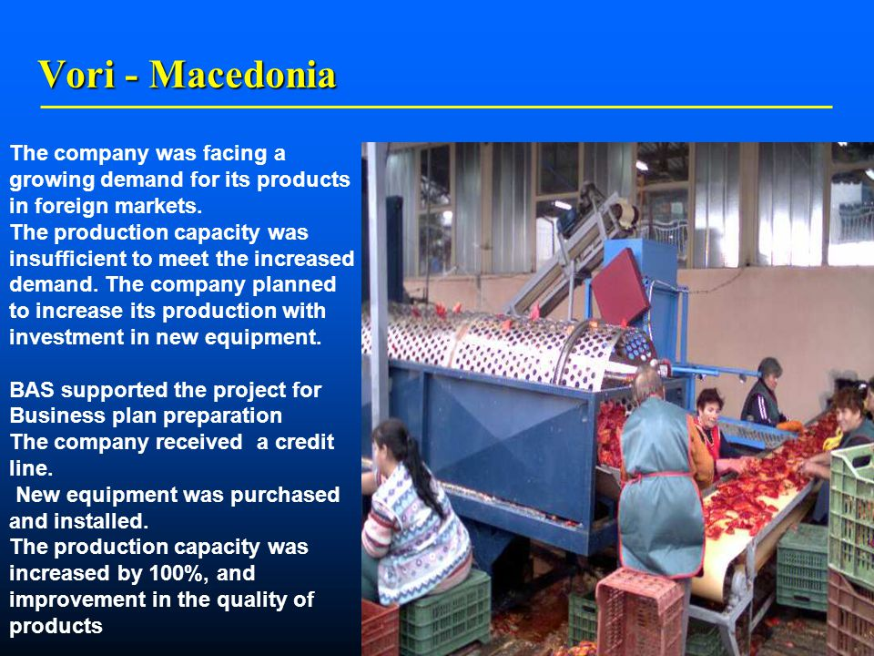    Vori - Macedonia The company was facing a growing demand for its products in foreign markets.