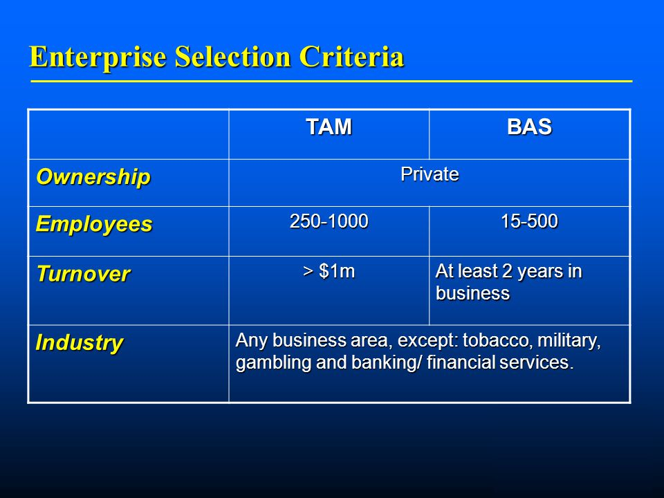    Enterprise Selection Criteria TAMBAS OwnershipPrivate Employees Turnover > $1m At least 2 years in business Industry Any business area, except: tobacco, military, gambling and banking/ financial services.