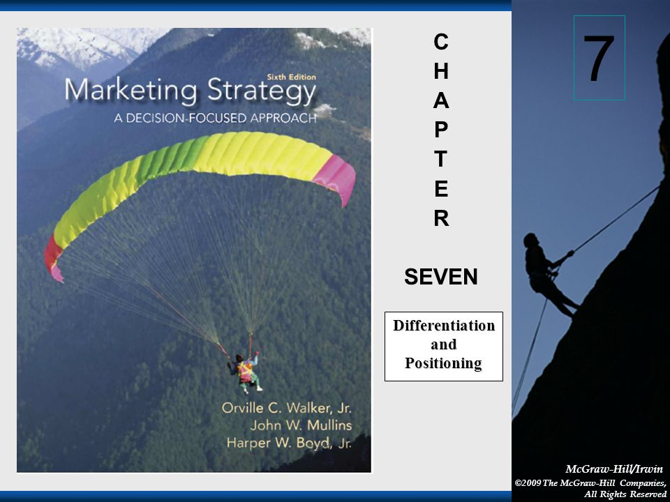 1-1 McGraw-Hill/Irwin ©2009 The McGraw-Hill Companies, All Rights Reserved C H A P T E R SEVEN Differentiation and Positioning 7