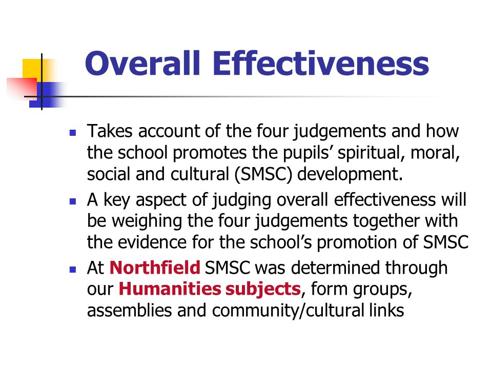 Overall Effectiveness Takes account of the four judgements and how the school promotes the pupils' spiritual, moral, social and cultural (SMSC) development.
