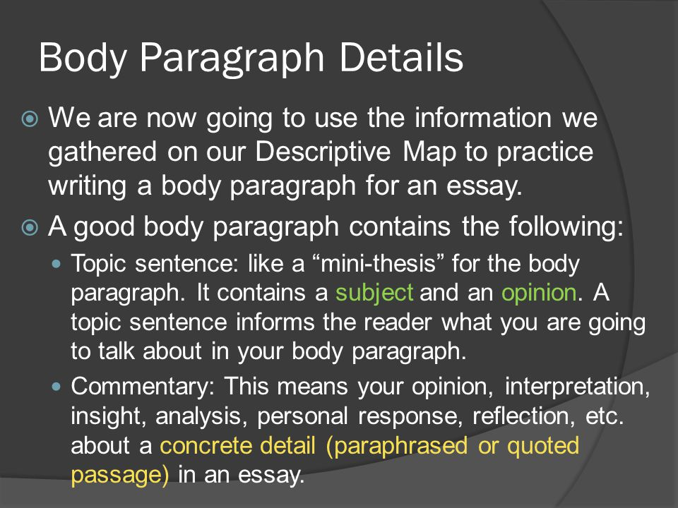 Body Paragraph Details  We are now going to use the information we gathered on our Descriptive Map to practice writing a body paragraph for an essay.