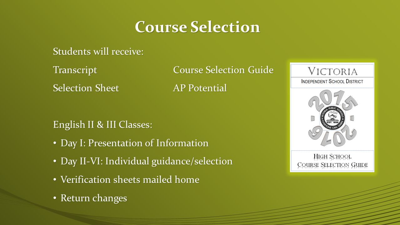 Course Selection Students will receive: TranscriptCourse Selection Guide Selection SheetAP Potential English II & III Classes: Day I: Presentation of Information Day I: Presentation of Information Day II-VI: Individual guidance/selection Day II-VI: Individual guidance/selection Verification sheets mailed home Verification sheets mailed home Return changes Return changes
