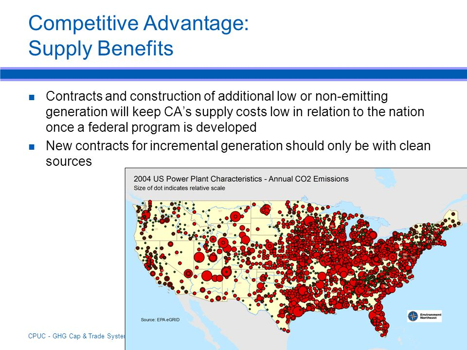 CPUC - GHG Cap & Trade Systems - Session 3 - April 19, 2007 Competitive Advantage: Supply Benefits Contracts and construction of additional low or non-emitting generation will keep CA's supply costs low in relation to the nation once a federal program is developed New contracts for incremental generation should only be with clean sources
