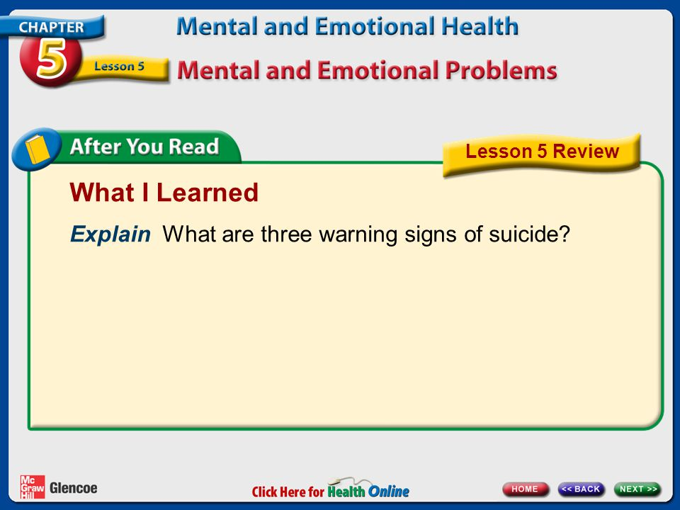 What I Learned Explain What are three warning signs of suicide Lesson 5 Review