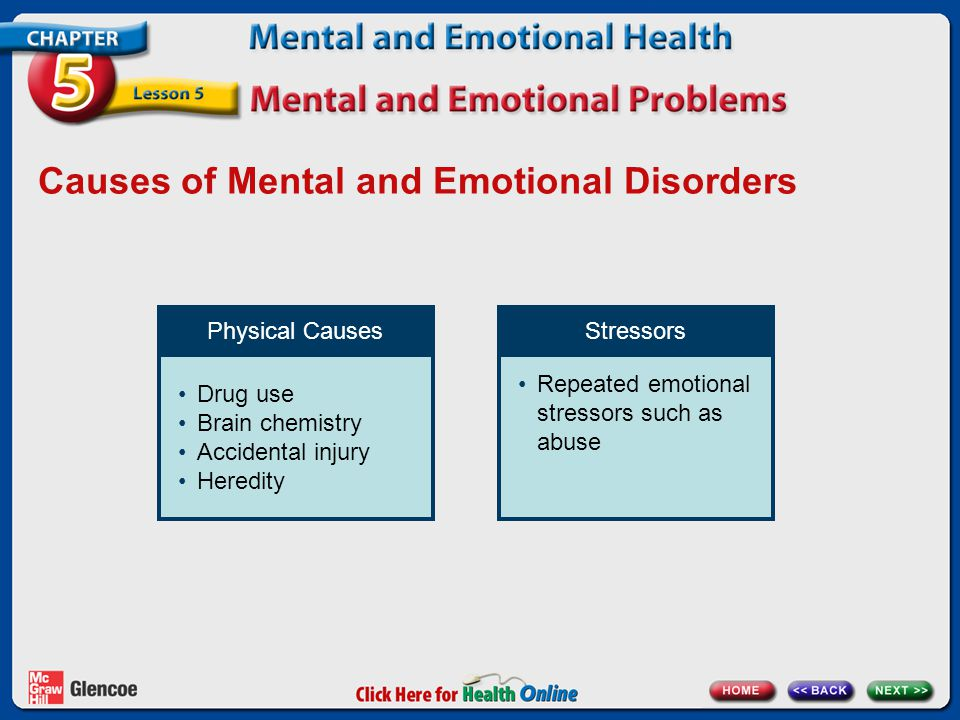 Causes of Mental and Emotional Disorders Physical Causes Drug use Brain chemistry Accidental injury Heredity Stressors Repeated emotional stressors such as abuse