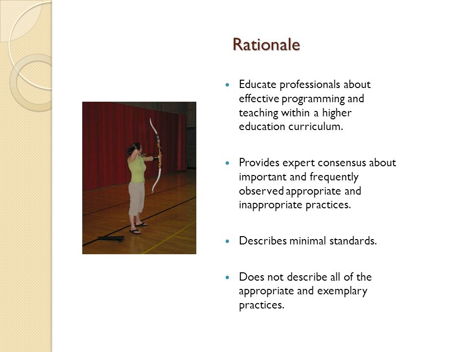 Rationale Educate professionals about effective programming and teaching within a higher education curriculum.