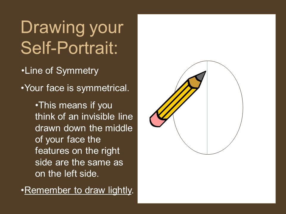 Line of Symmetry Drawing your Self-Portrait: Your face is symmetrical.