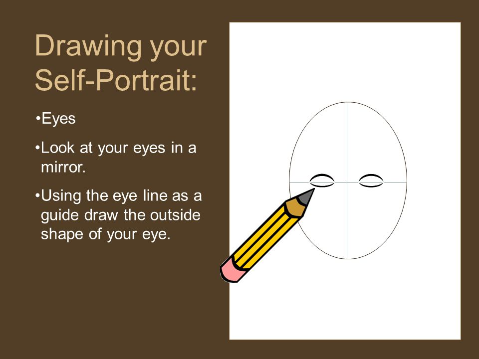 Eyes Drawing your Self-Portrait: Look at your eyes in a mirror.