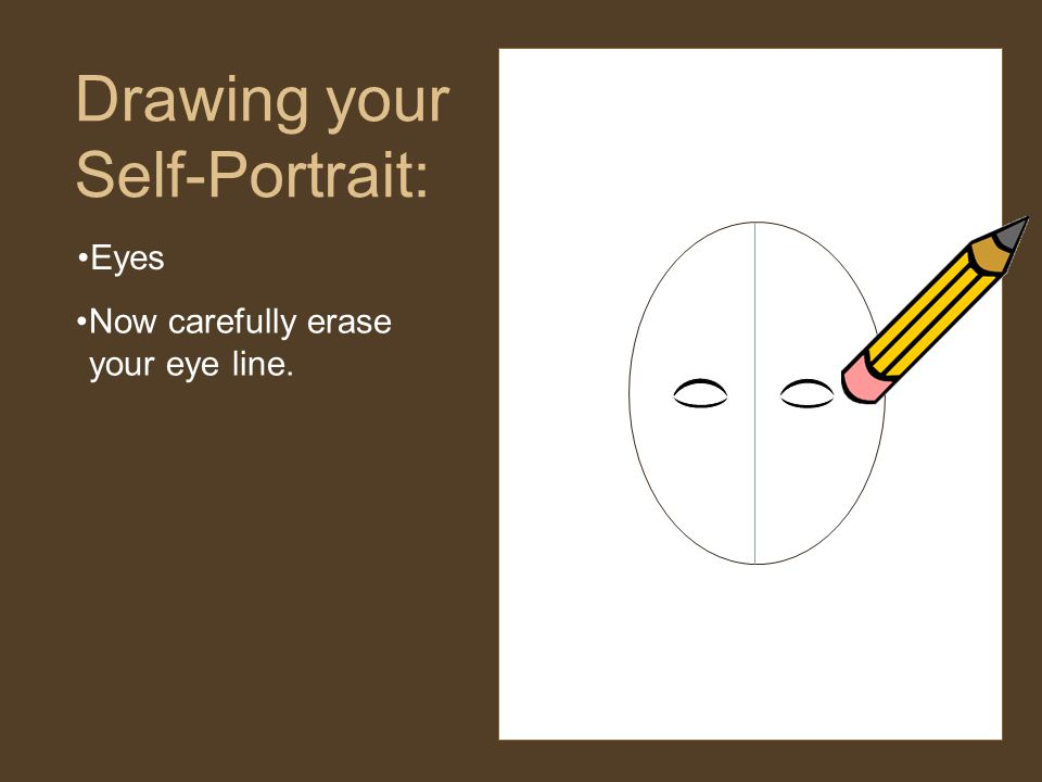 Eyes Drawing your Self-Portrait: Now carefully erase your eye line.