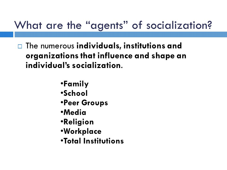 what are some agents of socialization