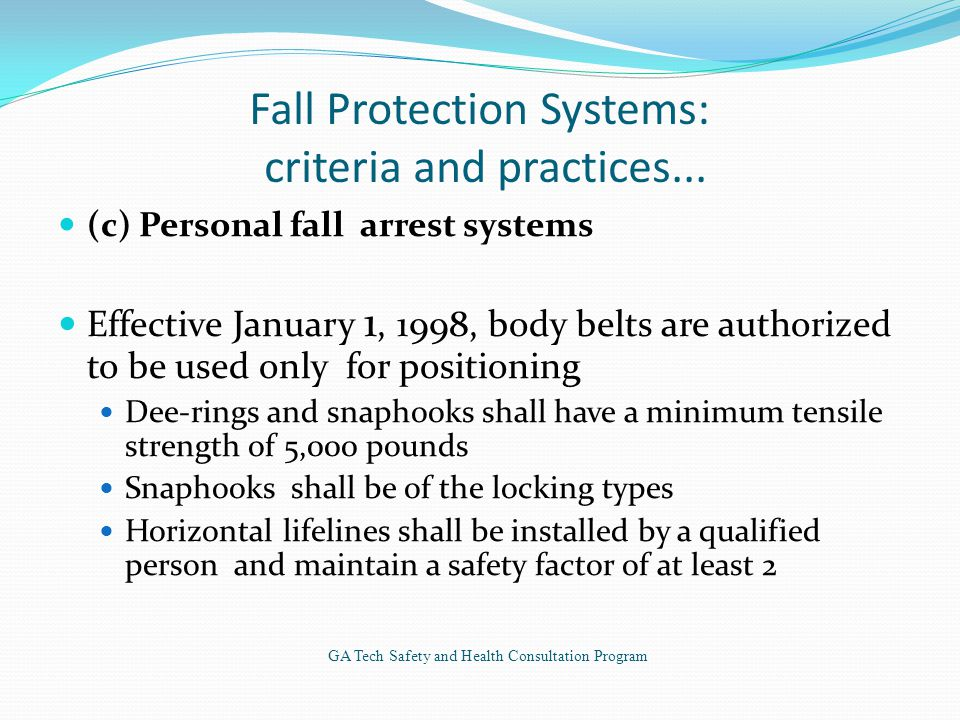 Fall Protection Systems: criteria and practices...