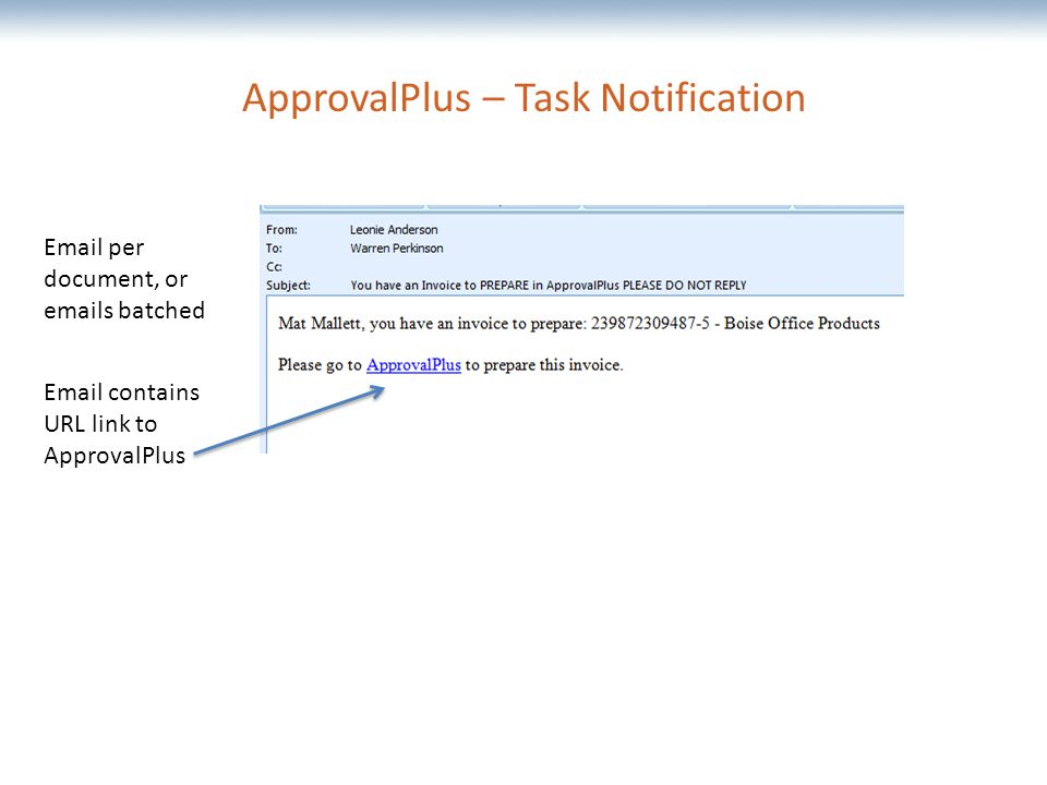 The most comprehensive Oracle applications & technology content under one roof ApprovalPlus – Task Notification  per document, or  s batched  contains URL link to ApprovalPlus
