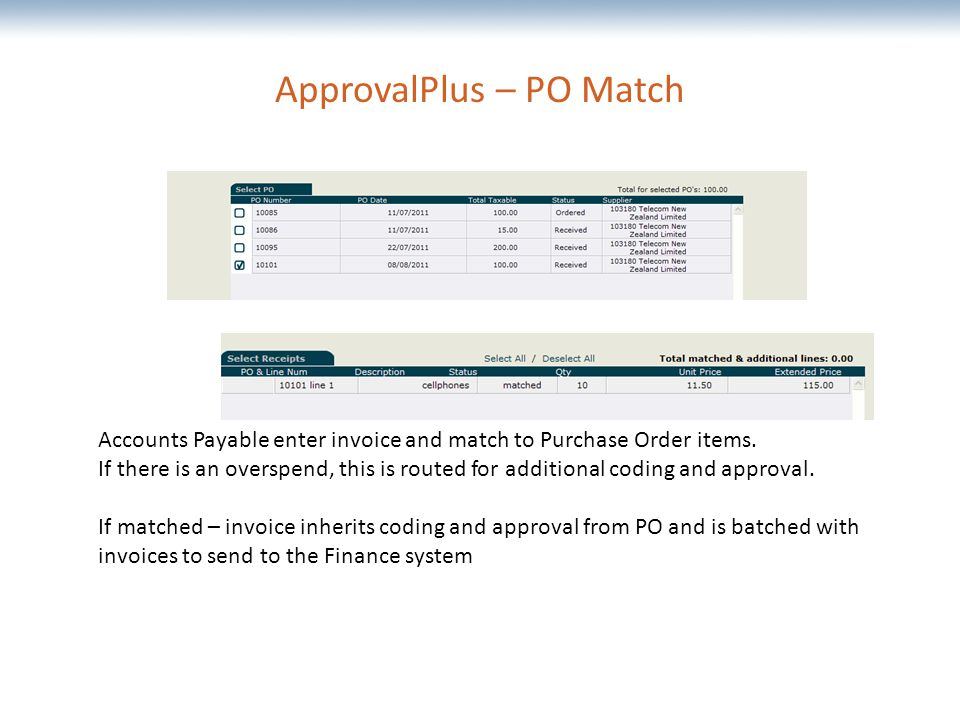 The most comprehensive Oracle applications & technology content under one roof ApprovalPlus – PO Match Accounts Payable enter invoice and match to Purchase Order items.