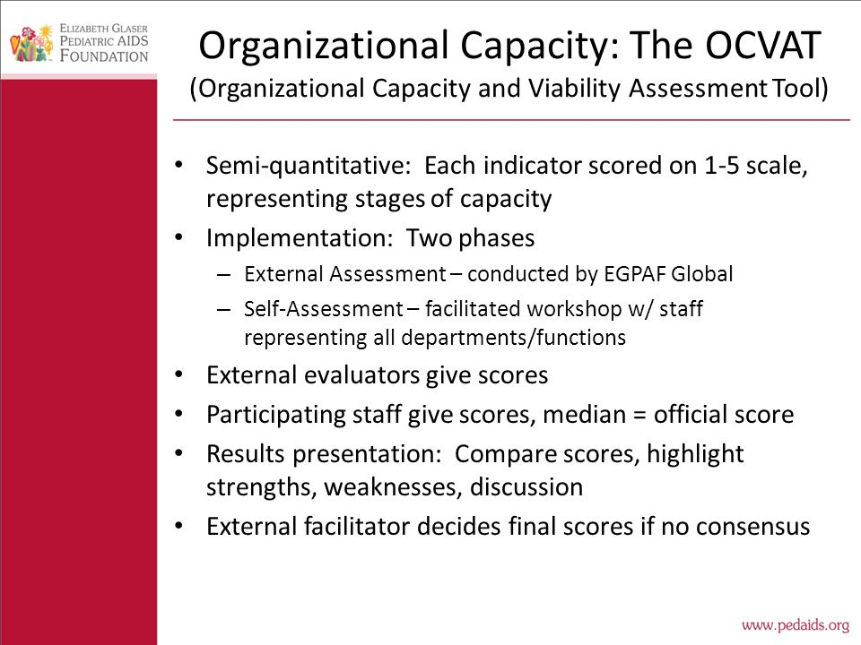Organizational Capacity: The OCVAT (Organizational Capacity and Viability Assessment Tool) Semi-quantitative: Each indicator scored on 1-5 scale, representing stages of capacity Implementation: Two phases – External Assessment – conducted by EGPAF Global – Self-Assessment – facilitated workshop w/ staff representing all departments/functions External evaluators give scores Participating staff give scores, median = official score Results presentation: Compare scores, highlight strengths, weaknesses, discussion External facilitator decides final scores if no consensus