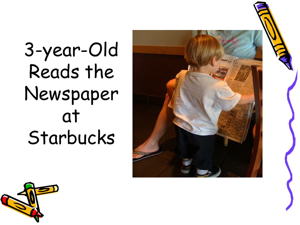 3-year-Old Reads the Newspaper at Starbucks