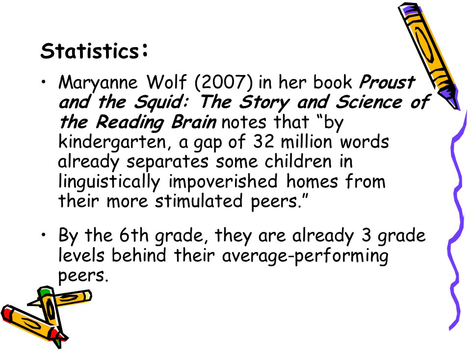 Statistics : Maryanne Wolf (2007) in her book Proust and the Squid: The Story and Science of the Reading Brain notes that by kindergarten, a gap of 32 million words already separates some children in linguistically impoverished homes from their more stimulated peers. By the 6th grade, they are already 3 grade levels behind their average-performing peers.