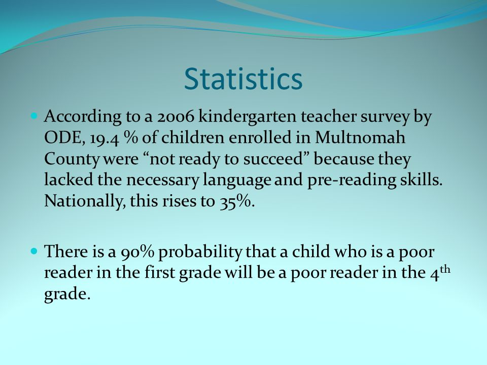 Statistics According to a 2006 kindergarten teacher survey by ODE, 19.4 % of children enrolled in Multnomah County were not ready to succeed because they lacked the necessary language and pre-reading skills.