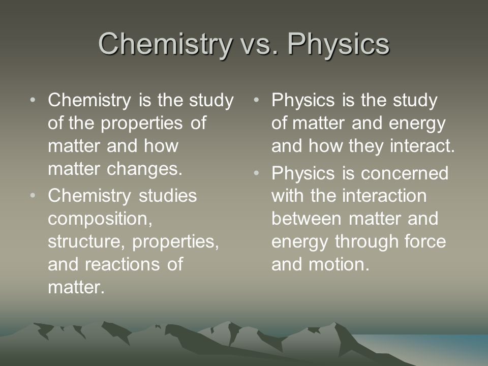 There are Two Main Areas of Physical Science Chemistry & Physics