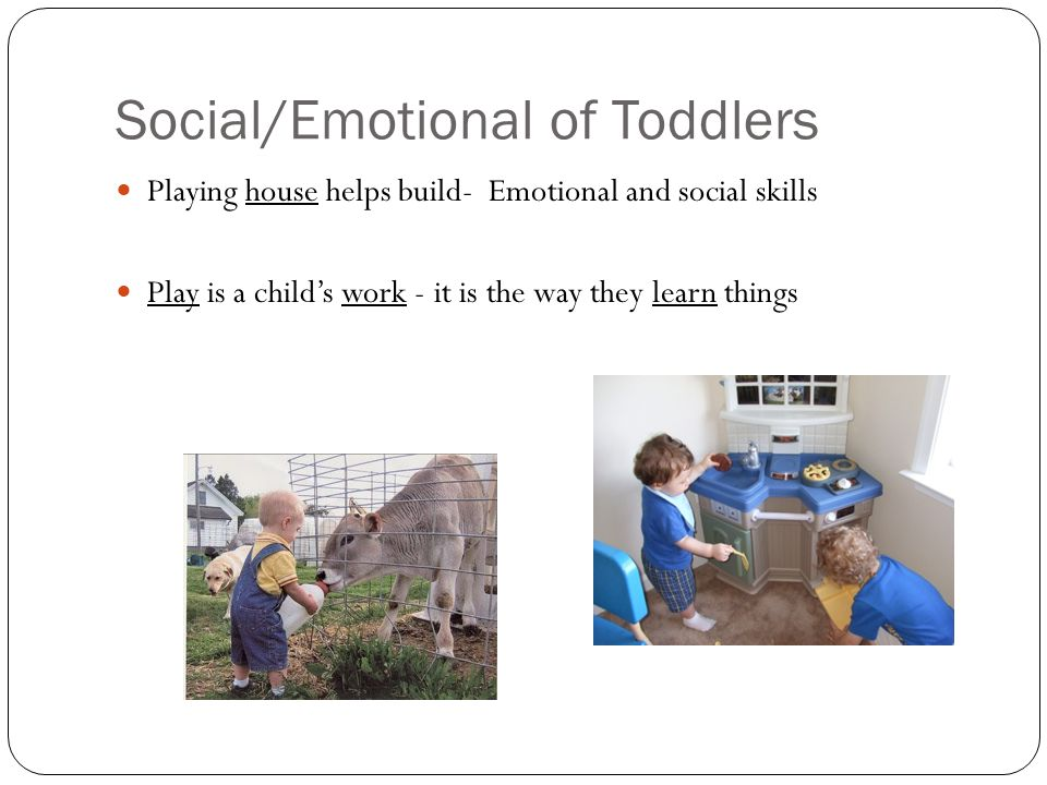 Social/Emotional of Toddlers Playing house helps build- Emotional and social skills Play is a child's work - it is the way they learn things