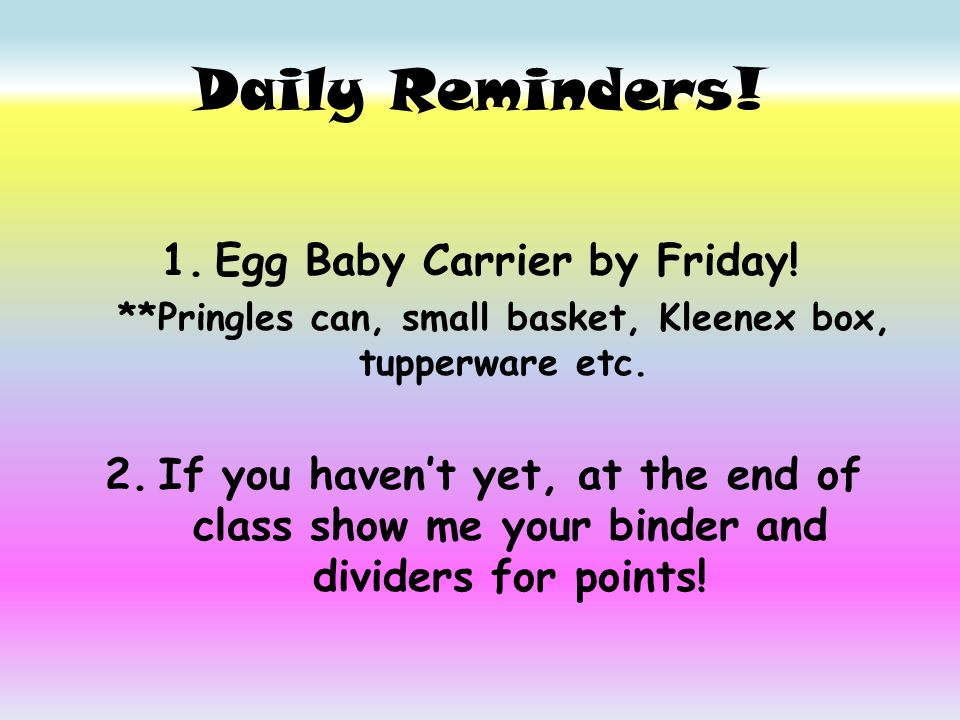 Daily Reminders 1 Egg Baby Carrier By Friday Pringles Can Small