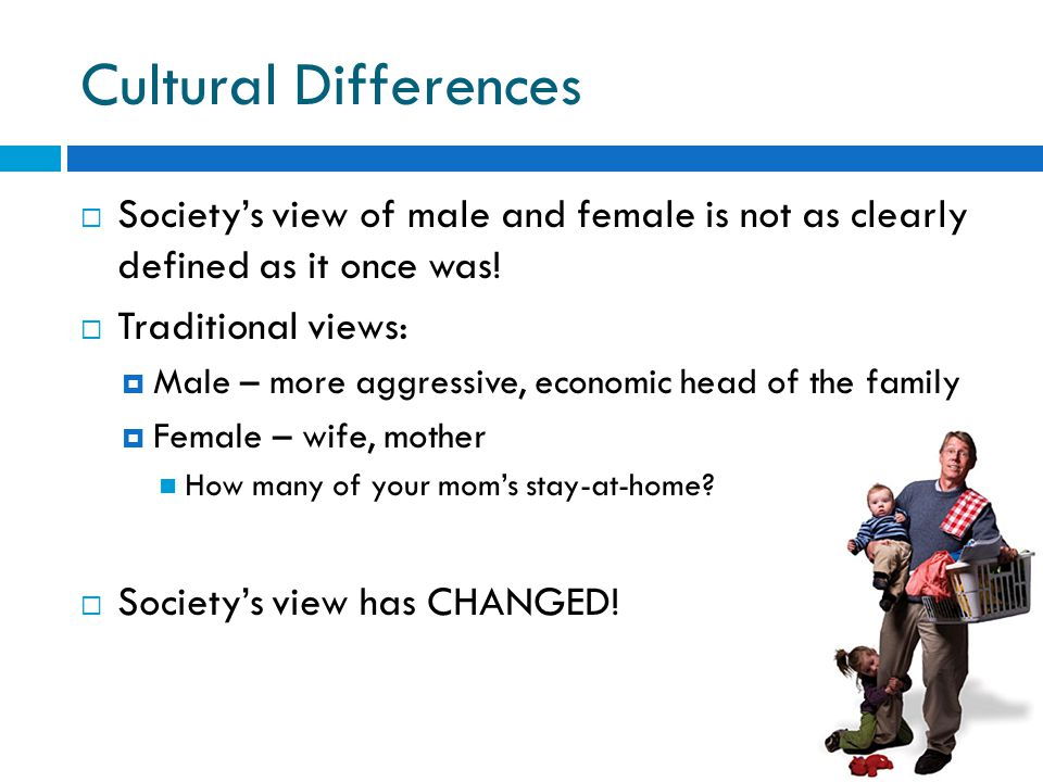 Cultural Differences  Society's view of male and female is not as clearly defined as it once was.