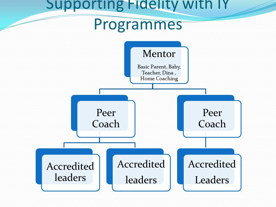 Supporting Fidelity with IY Programmes Mentor Basic Parent, Baby, Teacher, Dina, Home Coaching Peer Coach Accredited leaders Accredited leaders Peer Coach Accredited Leaders