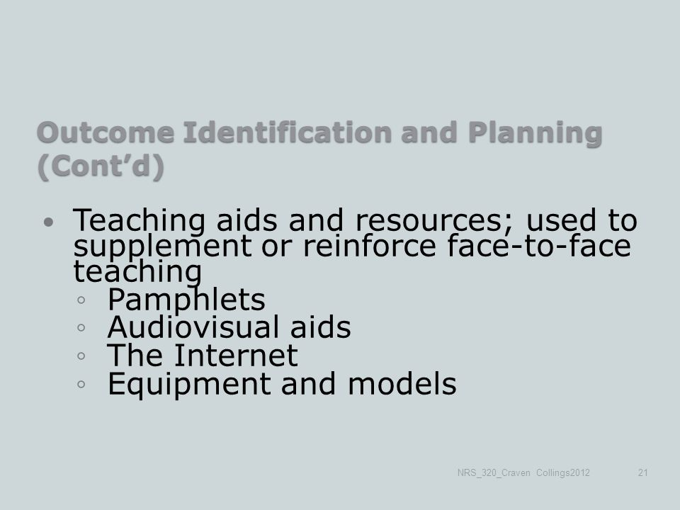 Outcome Identification and Planning (Cont'd) Teaching aids and resources; used to supplement or reinforce face-to-face teaching ◦Pamphlets ◦Audiovisual aids ◦The Internet ◦Equipment and models NRS_320_Craven Collings201221