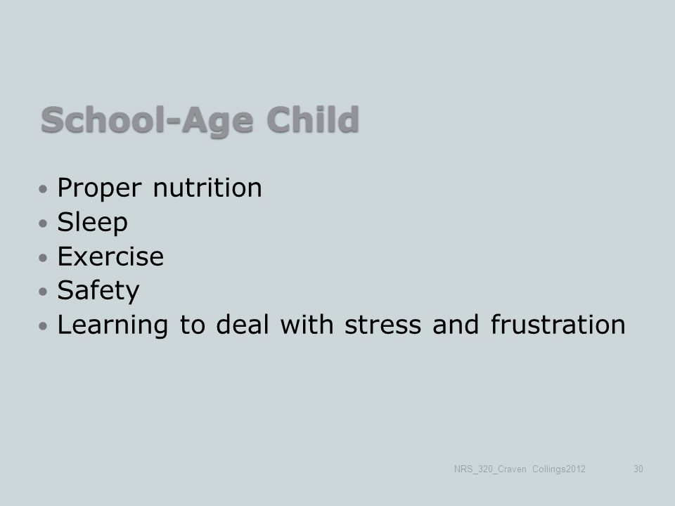 School-Age Child Proper nutrition Sleep Exercise Safety Learning to deal with stress and frustration NRS_320_Craven Collings201230