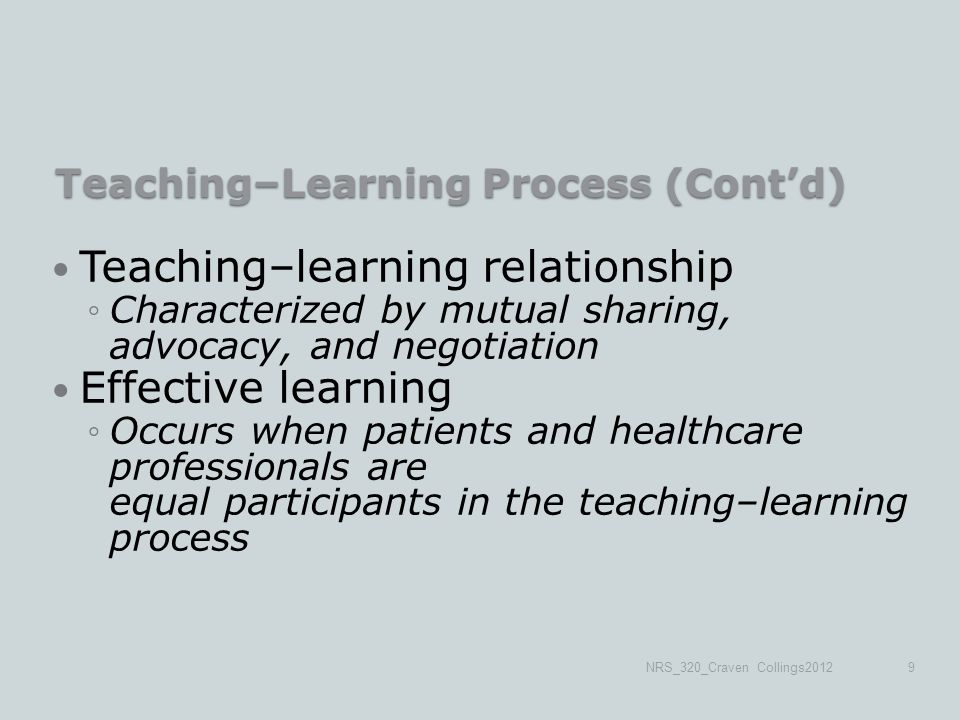 Teaching–Learning Process (Cont'd) Teaching–learning relationship ◦Characterized by mutual sharing, advocacy, and negotiation Effective learning ◦Occurs when patients and healthcare professionals are equal participants in the teaching–learning process NRS_320_Craven Collings20129