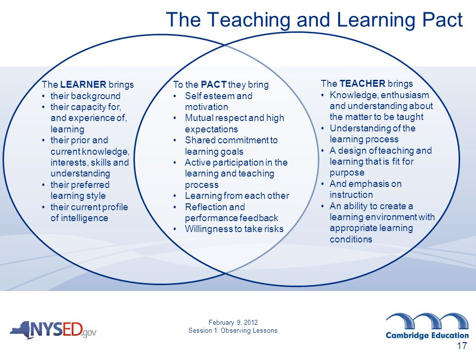The Teaching and Learning Pact To the PACT they bring Self esteem and motivation Mutual respect and high expectations Shared commitment to learning goals Active participation in the learning and teaching process Learning from each other Reflection and performance feedback Willingness to take risks The LEARNER brings their background their capacity for, and experience of, learning their prior and current knowledge, interests, skills and understanding their preferred learning style their current profile of intelligence The TEACHER brings Knowledge, enthusiasm and understanding about the matter to be taught Understanding of the learning process A design of teaching and learning that is fit for purpose And emphasis on instruction An ability to create a learning environment with appropriate learning conditions 17 February 9, 2012 Session 1: Observing Lessons