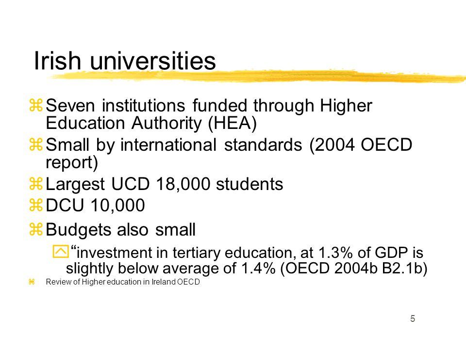 5 zSeven institutions funded through Higher Education Authority (HEA) zSmall by international standards (2004 OECD report) zLargest UCD 18,000 students zDCU 10,000 zBudgets also small  investment in tertiary education, at 1.3% of GDP is slightly below average of 1.4% (OECD 2004b B2.1b) zReview of Higher education in Ireland OECD Irish universities