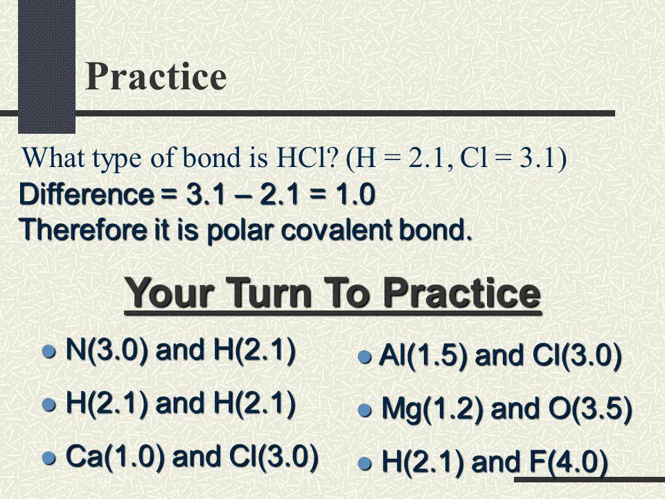 Classification of Bonds You can determine the type of bond between two atoms by calculating the difference in electronegativity values between the elements Type of BondElectronegativity Difference Nonpolar Covalent 0  0.4 Polar Covalent 0.5  1.9 Ionic 2.0  4.0