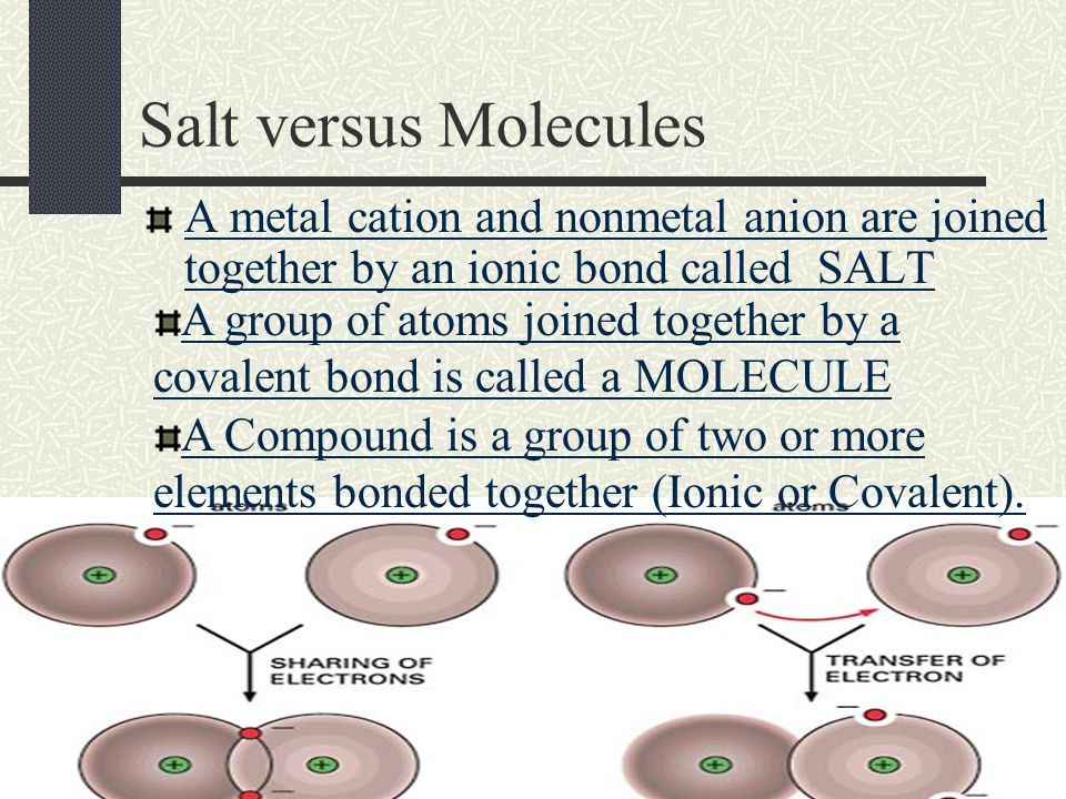 Chapter 8.1 – Molecular Compounds In this chapter, you will learn about another type of bond in which electrons are shared Covalent Bonds are atoms held together by SHARING electrons between NONMETALS