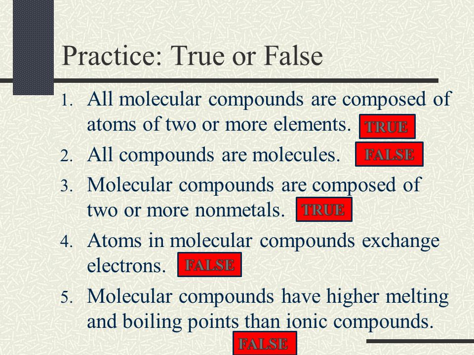 Practice How many atoms total and of each do the following molecular compounds contain.
